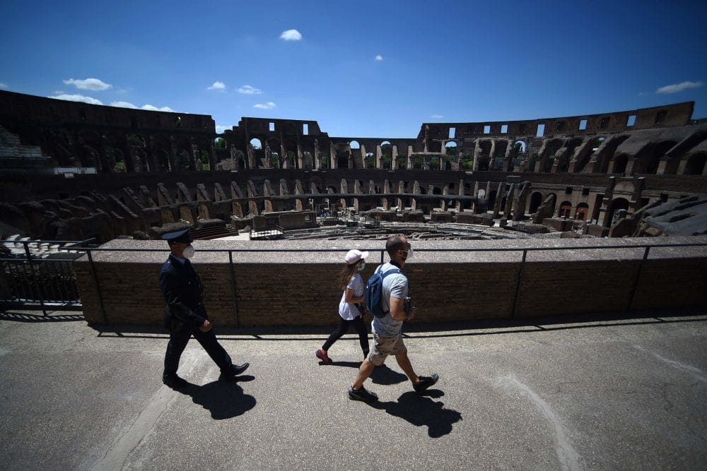 Visitors to the Colosseum, Rome